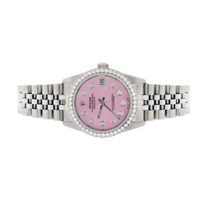 Rolex Datejust Midsize 31MM Automatic Stainless Steel Women's Watch w/Hot Pink Dial & Diamond Bezel