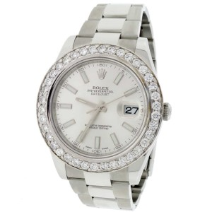 Rolex Datejust II 41MM Silver Stick Dial Automatic Stainless Steel Mens Oyster Watch with 4.20CT Diamond Bezel 116300