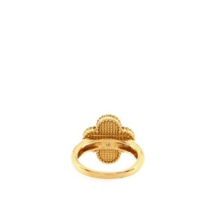 Van Cleef & Arpels Vintage Alhambra Ring 18K Yellow Gold with Mother of Pearl and Diamond 6 - 52