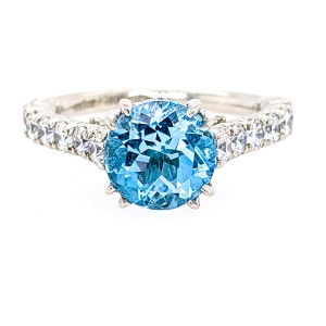 Jack Kelege KPR477RD Platinum Sky Blue Topaz & Diamonds Ring
