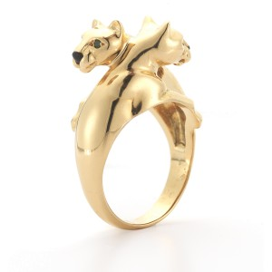 Cartier 18K Yellow Gold Double Panther Bypass Ring with Tsavorite Garnet Eyes and Onyx Noses