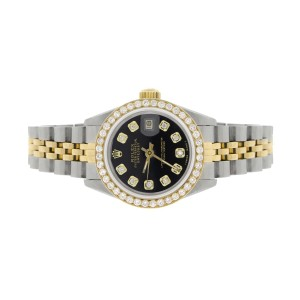 Rolex Datejust Ladies 2-Tone 18K Gold/SS 26mm Watch with Black Dial & Diamond Bezel