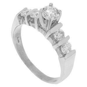 14K White Gold, 14K Yellow Gold Diamond Engagement Ring Size 6.75