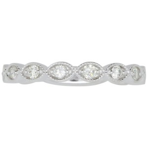 14K White Gold with 0.40ctw Diamond Scalloped Band Ring Size 7.75