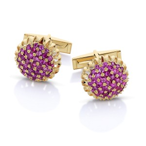 14k Yellow Gold and Ruby Cufflinks