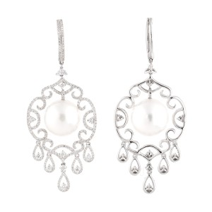 18k White Gold Diamonds And Culured Pearls Earrings
