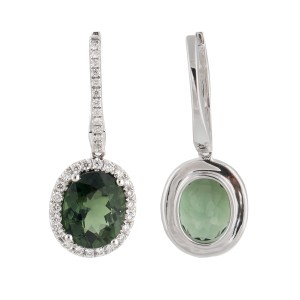 18k White Gold Diamond And Tourmaline Earrings