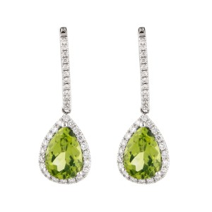 14k White Gold Diamond And Peridot Earrings