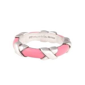 Tiffany & Co. Sterling Silver Pink Enamel Ring Size 5.75