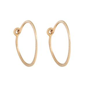 14K Yellow Gold Hammered Hoop Earrings