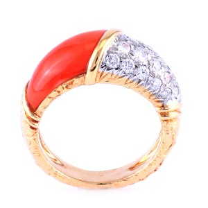 Vintage Van Cleef and Arpels 18K Yellow Gold Diamond Coral Ring