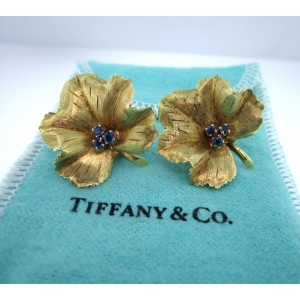 Tiffany & Co. 18K Yellow Gold Sapphire Leaf Clip-On Earrings