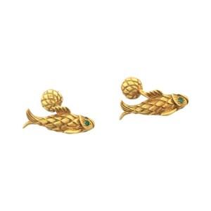 Tiffany & Co. Schlumberger 18k Gold Fish Emerald Cufflinks & Matching Tie Tack