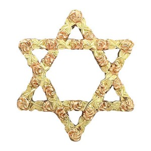 14K Yellow Rose Gold Floral Leaf Jewish Star Pendant