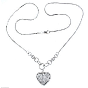 "14k White Gold Pave Diamond Heart Pendant 18"""