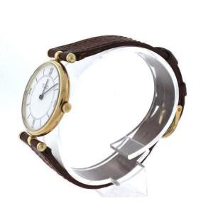 vintage Van Cleef & Arpels Vintage 14K Gold Brown Leather White Dial Watch 22mm