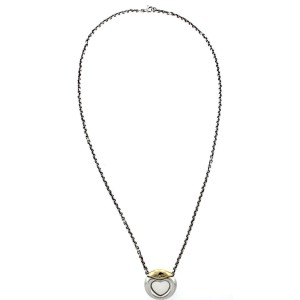 Movado 925 Sterling Silver 18K Yellow Gold Diamond Heart Circle Pendant Necklace