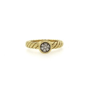 David Yurman 18K Yellow Gold Round Diamond Stacking Ring