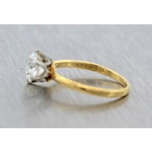 Tiffany & Co. Trans Brilliant 1.09ct Diamond Yellow Gold Wedding Engagement Ring Size 4.5