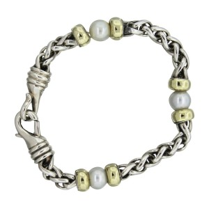 David Yurman 14K Yellow Gold Sterling Silver and Pearl Wheat Chain Bracelet