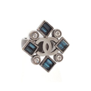 Chanel Gunmetal Rhinestone and Blue Stones Ring Size 6.5