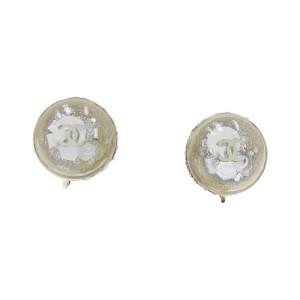 Chanel Silver Tone Hardware with Rhinestone Coco Mark Earrings