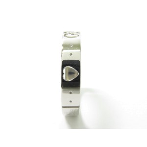Gucci 18K White Gold Icon Amor Band Ring Size 8