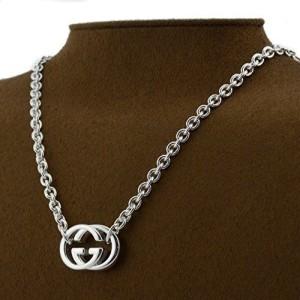 Gucci Silver Tone Hardware Pendant Necklace