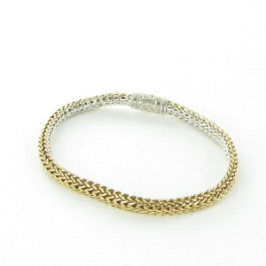 John Hardy Classic Chain 925 Sterling Silver and 18K Yellow Gold Reversible Bracelet