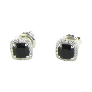 John Hardy Classic Chain Sterling Silver 0.33cts Diamond & Onyx Stud Earrings