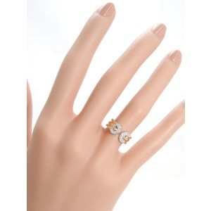 Cartier 2C Ring 18K White, Yellow and Rose Gold with 18P Diamond Size 4.75