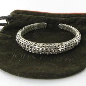 John Hardy Classic Chain 925 Sterling Silver Graduated Kick Cuff Bracelet