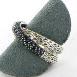 John Hardy Classic Chain 925 Sterling Silver with Black Sapphires Overlap Ring Size 7