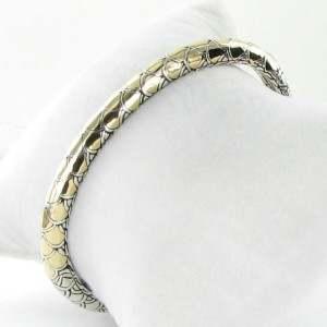John Hardy Naga Legends 925 Sterling Silver and 18K Yellow Gold Cuff Bracelet