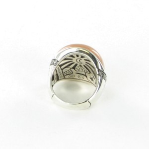 John Hardy Bamboo 925 Sterling Silver Peach Moonstone & Diamond Ring Size 7