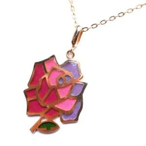 Mikimoto 18K Yellow Gold Rose Pendant Necklace