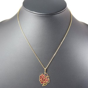 Mikimoto 18K Yellow Gold Rose Pendant Necklace