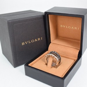 Bulgari B Zero 1 18K White Gold and Black Enamel Ring Size 4.25