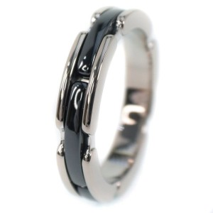 Chanel 18K White Gold with Black Ceramic Ultra Ring Size 7