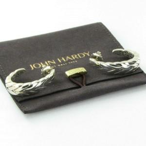 John Hardy Modern Chain Medium J Hoop Earrings Polished Sterling EB94001