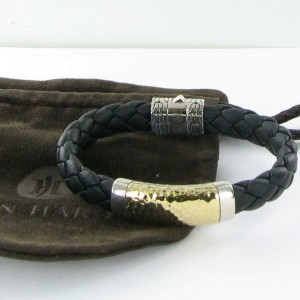 John Hardy Classic Chain Station Bracelet 18K Plated Sterling Black Leather Mens