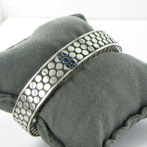 John Hardy Dot Silver Rectangular Hinged Bangle Sterling Silver