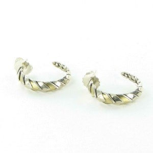 John Hardy Naga Hoop Earrings Small 28mm Sterling Silver 18K Yellow Gold