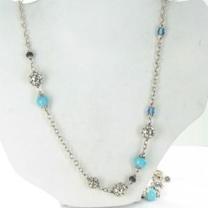 John Hardy Dot Sautoir Necklace Turquoise Swiss Bl Topaz Black Sapphire 36 inch