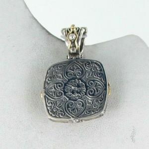 Konstantino Thetis Enahncer Cushion Pendant Black White Agate Sterling 18k Gold