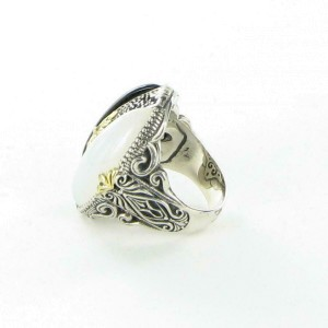 Konstantino Thetis Black and White Agate Ring Sterling Silver 18k Gold Sz 7