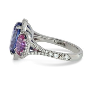 Leibish 18K White Gold Blue Tanzanite & Spinel Diamond Ring Size Ring Size 6