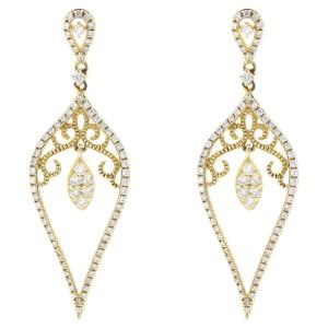 Rachel Koen Yellow Gold Drop Party Dangle Diamond Earrings 0.73cts