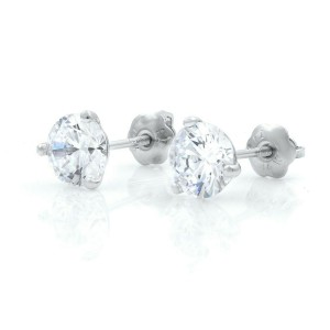14K White Gold Round Three Prong CZ Cubic Zirconia Stud Earrings 7mm