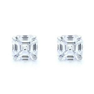 Rachel Koen 14K White Gold Asscher Cut Cubic Zirconia Stud Earrings 6mm